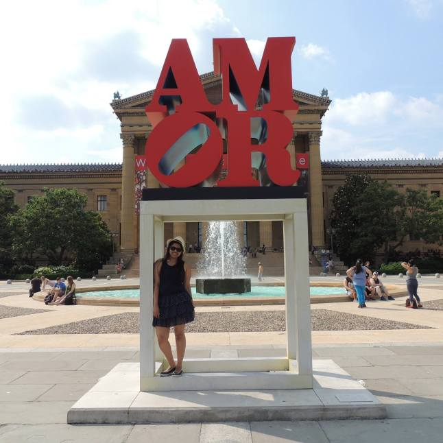"AMOR meaning ""Love"" in Spanish and Latin; Outside Philadelphia Museum of Art"